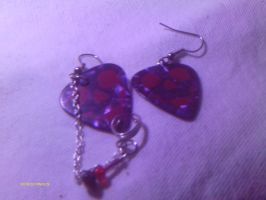 Guitar pick earrings with cuff by stardove3