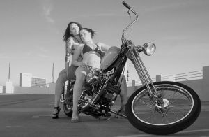 twins on chopper B and W edit by theFATpirate
