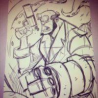 Hellboy - Warmup Sketch by DerekLaufman