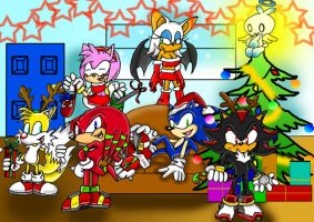 Sonic and friends at christmas by shadowlovesrouge
