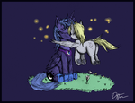 Luna and Derpy: Kisses and Fireflies. by dreamingnoctis