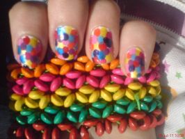Colorful Dots Nail Design by AnyRainbow