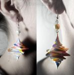 White Dotted Spiral Origami Earrings :ON SALE: by MaGeXP