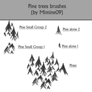 Pine trees photoshop brushes for maps by Mimine09