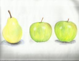 Granny smiths and a pear by TheR-tist