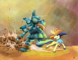 Keldeo vs golurk by MrPloxyKun