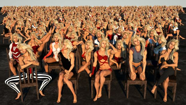 1000 blonde girls looking at you by DahriAlGhul