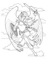 Valkyrie - Dangerous Women Coloring Book Page by indigowarrior