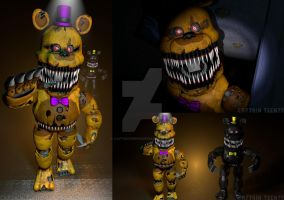 Nightmare Fredbear and Nightmare Full Body by Capt4inTeen79