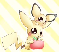 Pichu and Pikachu by Bukoya