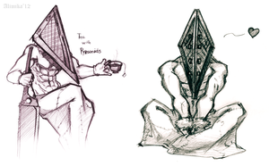 Pyramid Head sketches by Alimika