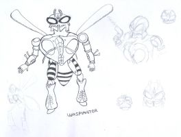BW Waspinator lineart01 by ragedaisy