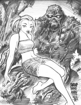 SWAMP THING and ABBY sketch by AdamWarren