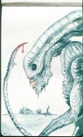 Alien watercolor by MarcoPagnotta