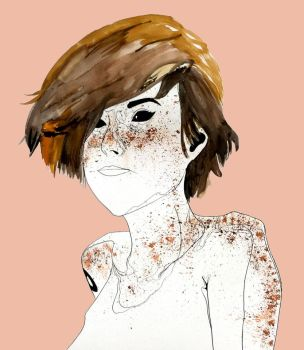 Nude girl with freckles by Celestialbeast