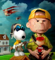 Charlie and Snoopy by funkwood