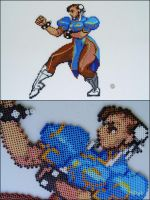 Street Fighter Alpha 3 Chun Li bead sprite magnet by 8bitcraft