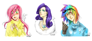 MLP - fluttershy, rarity, rainbowdash by D-Kitsune