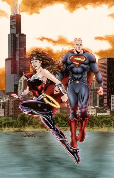 Commissioned Couple as Supes and Wonder Woman by ejimenez