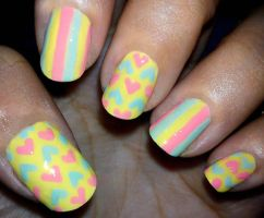 Pastel Stripes and Hearts Nails by fractionVerse
