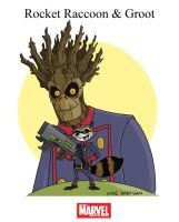 Mighty Marvel Month of March - Rocket and Groot by tyrannus