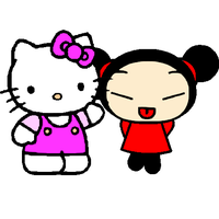 Pucca and Hello Kitty by what-mean-love