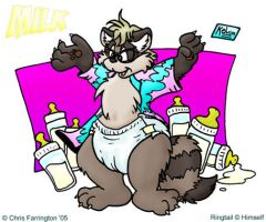 Ringtail Raccoon in diapers by KelvinTheLion
