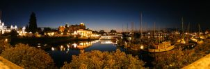Inner Harbour Night Panorama by raptor-rapture