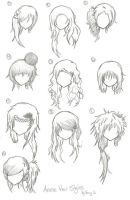 Anime Hair Styles by animebleach14