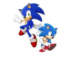 Modern Sonic and Classic Sonic by scourge1985