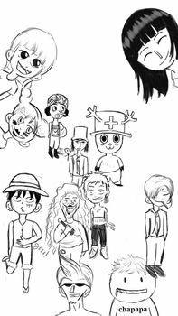 Chibi Luffy's crewmates and chapapa and chimney by Laiburger