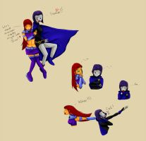 Girls Night Out! - Starfire + Raven - Comic by Whimsic-Dreamer