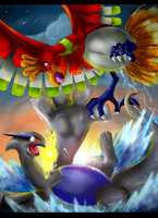 Pokemon: Lugia vs Ho-Oh by Ink-Leviathan