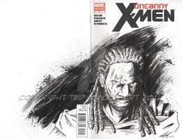 Uncanny X-Men Sketch Cover: Omar Sy as Bishop by tedwoodsart