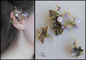 Spring in the Mirkwood set of ear cuffs and studs by JuliaKotreJewelry