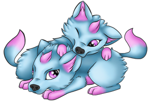 Art and Dez - Pups by Myklor