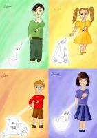 Lil' Hogwarts founders by guad
