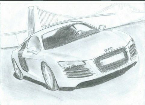 Audi R8 Drawing by fkartwork
