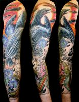 Crow and snake full sleeve by genova