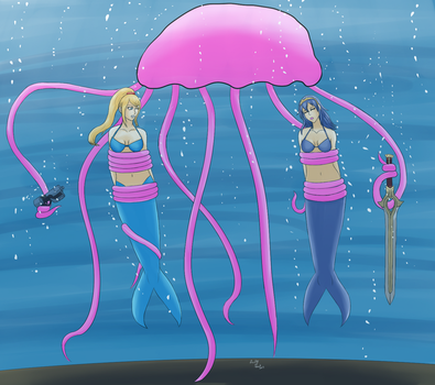 Samus and Lucina Vs The Jelly(fish) (Commission) by Lady-of-Mud