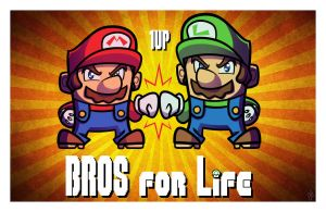 NYCC Print - Bros for Life - Super Mario Bros by JoeHoganArt
