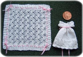 1:12th scale Christening Gown and Shawl by buttercupminiatures