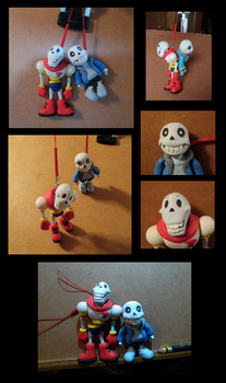 Undertale - Skeleton Keychains by Lepus-Marj