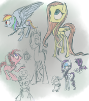 Abnormal pony sketches by CeleryPony