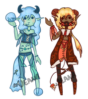 Offer to Adopt - Fire and Water Demons [CLOSED] by JeanaWei
