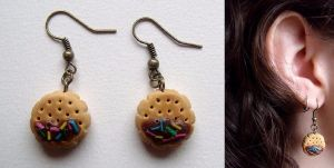 Chocolate biscuit earrings by curry-brocoli