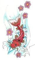 Koi fish in water by ProudToSketch