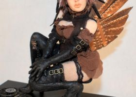 ooak Steampunk Aviator Fae - closeup by incantostudios