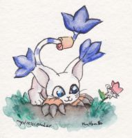 Gatomon Watercolor doodle by MystressVulpes