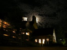 Clouds Moon And Campus Center by sillylittleidiot